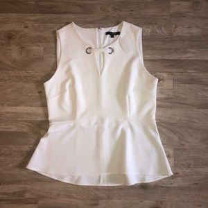 Alex Marie White Peplum V neck dress top